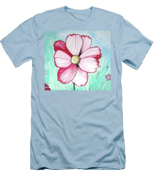 Candy Stripe Cosmos Men's T-Shirt (Slim Fit) by Mary Ellen Frazee