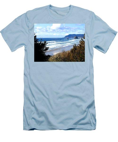 Cannon Beach Vista Men's T-Shirt (Slim Fit) by Will Borden