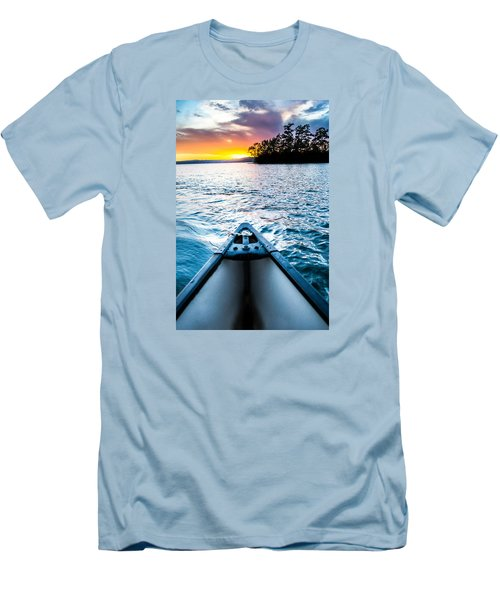 Canoeing In Paradise Men's T-Shirt (Slim Fit) by Parker Cunningham