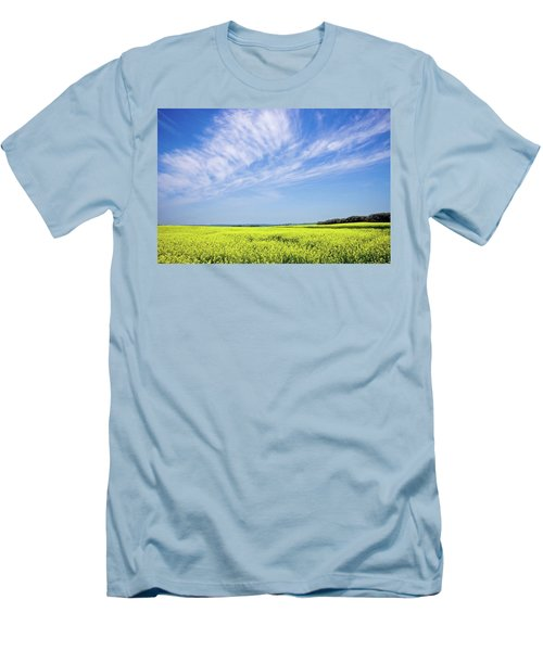 Canola Blue Men's T-Shirt (Slim Fit) by Keith Armstrong