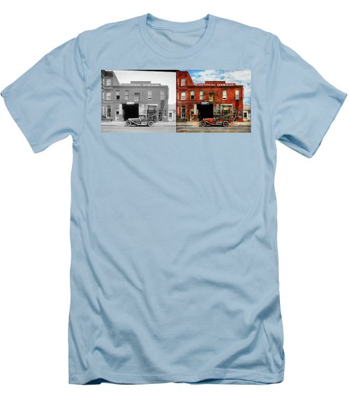 Men's T-Shirt (Slim Fit) featuring the photograph Car - Garage - Misfit Garage 1922 - Side By Side by Mike Savad