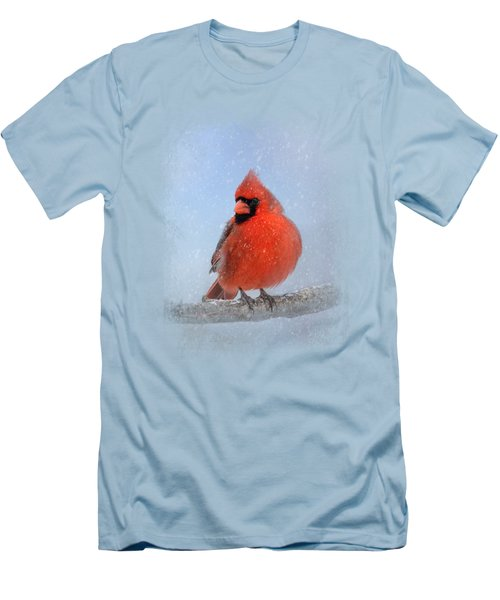 Cardinal In The Snow Men's T-Shirt (Slim Fit) by Jai Johnson
