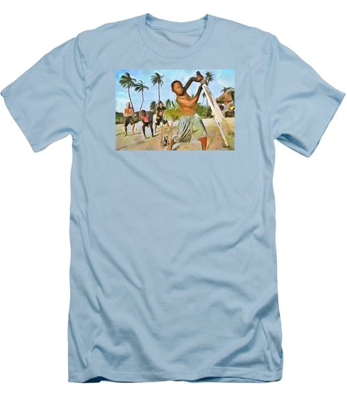 Men's T-Shirt (Slim Fit) featuring the painting Caribbean Scenes - Cricket On De Beach by Wayne Pascall