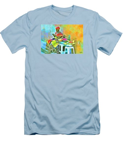 Caribbean Scenes - De Fruit Lady Men's T-Shirt (Slim Fit) by Wayne Pascall