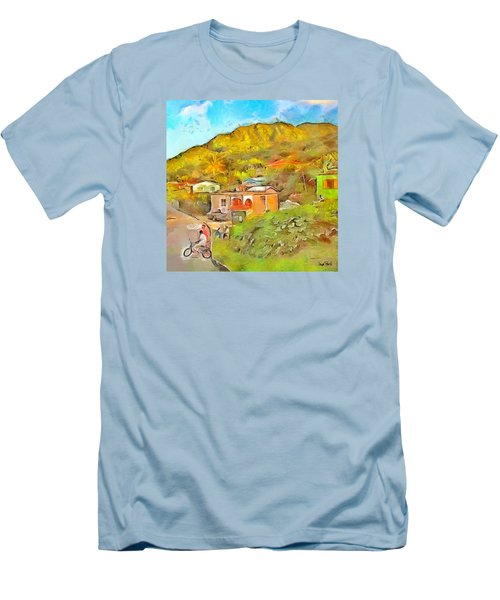 Men's T-Shirt (Slim Fit) featuring the painting Caribbean Scenes - De Village by Wayne Pascall