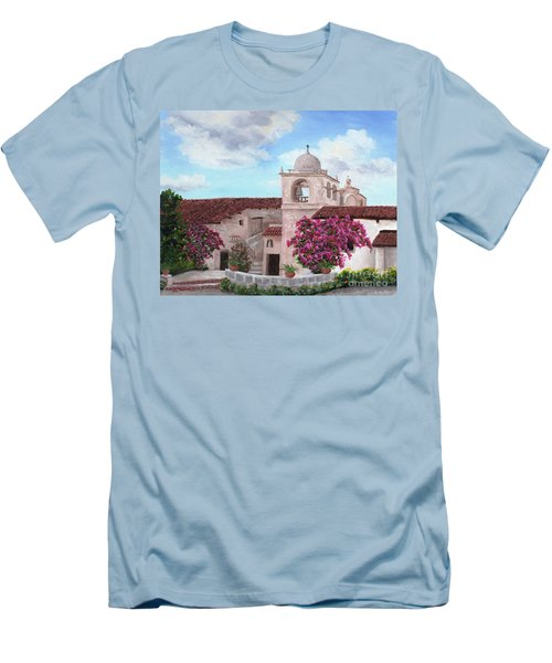 Carmel Mission In Spring Men's T-Shirt (Slim Fit) by Laura Iverson