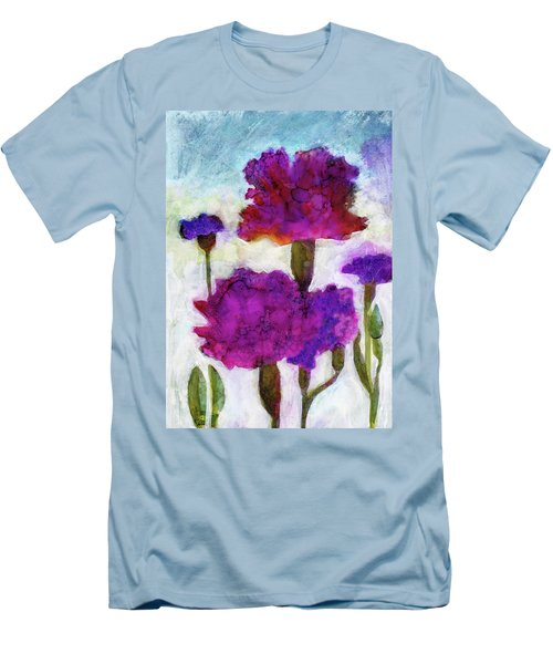 Men's T-Shirt (Slim Fit) featuring the painting Carnations by Julie Maas