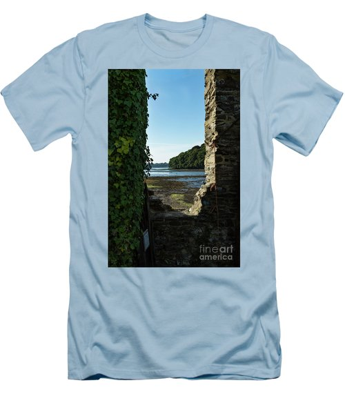 Men's T-Shirt (Slim Fit) featuring the photograph Photographs Of Cornwall Carnon Mine Window by Brian Roscorla