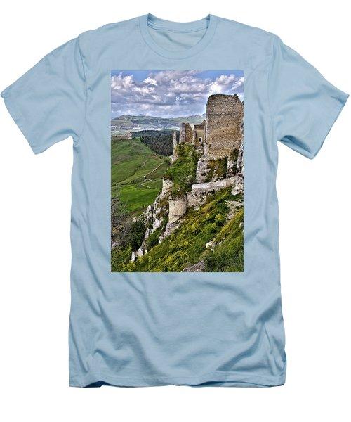 Castle Of Pietraperzia Men's T-Shirt (Slim Fit) by Patrick Boening