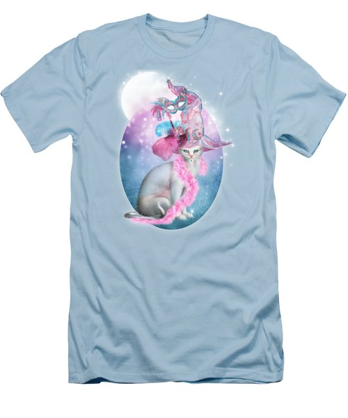 Men's T-Shirt (Slim Fit) featuring the mixed media Cat In Fancy Witch Hat 4 by Carol Cavalaris