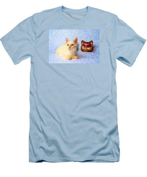 Cat Mask Men's T-Shirt (Slim Fit) by Andre Faubert