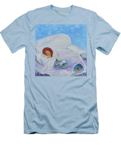 Cat Nap  Men's T-Shirt (Slim Fit) by Reina Resto