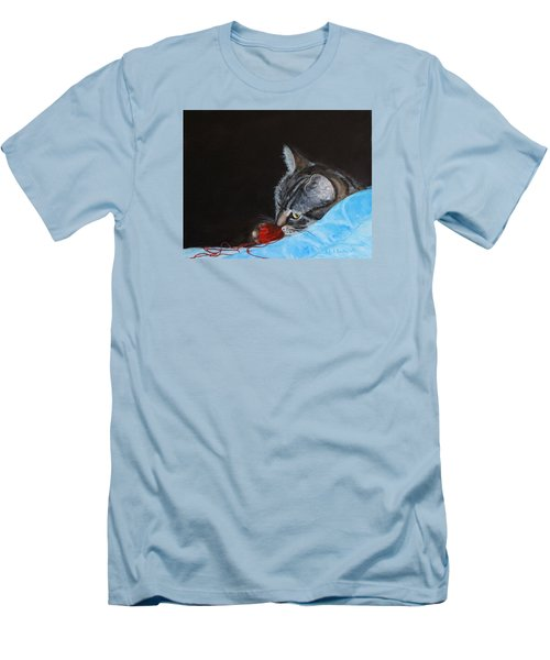Cat With Red Yarn Men's T-Shirt (Athletic Fit)