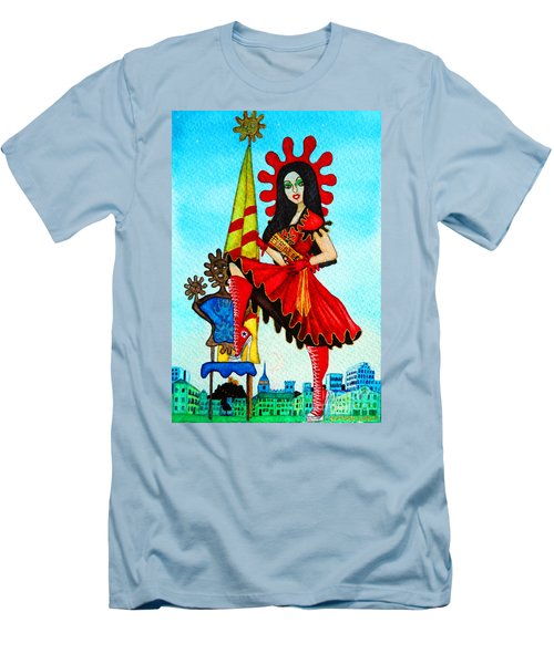 Men's T-Shirt (Slim Fit) featuring the painting Catalan Girl In Converse by Don Pedro De Gracia
