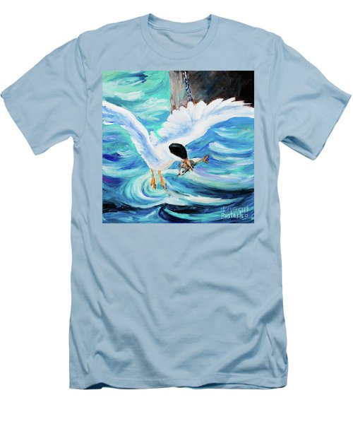Men's T-Shirt (Slim Fit) featuring the painting Catch by Igor Postash