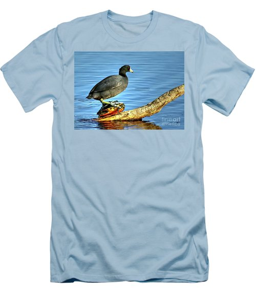 Men's T-Shirt (Slim Fit) featuring the photograph Catching A Slow Ride by Myrna Bradshaw