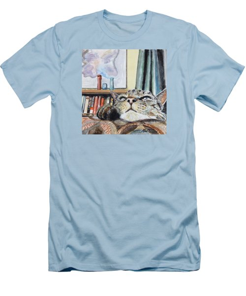 Men's T-Shirt (Slim Fit) featuring the painting Catnip by Stan Tenney