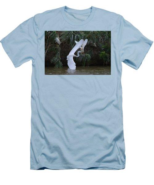 Cattle Egret Harassing An Adult Egret - Digitalart Men's T-Shirt (Athletic Fit)