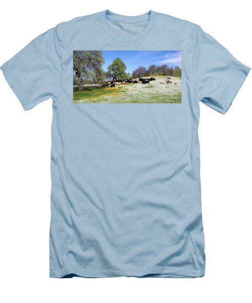 Cattle N Flowers Men's T-Shirt (Slim Fit) by Diane Bohna