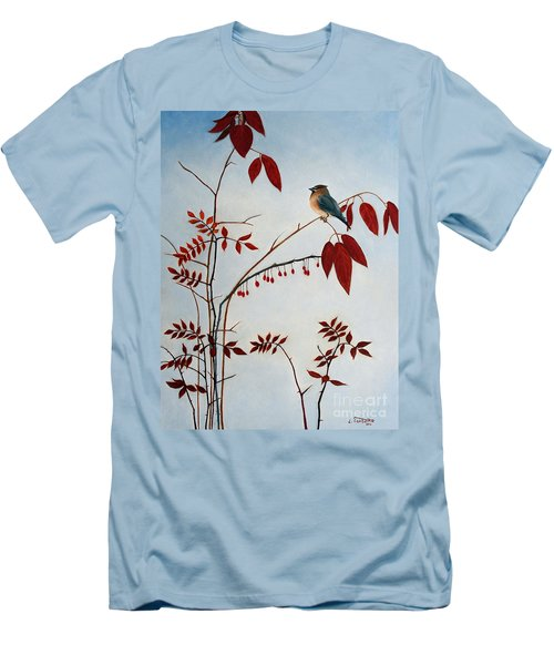 Cedar Waxwing Men's T-Shirt (Slim Fit) by Laura Tasheiko