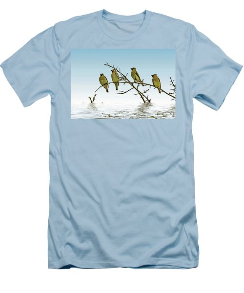 Cedar Waxwings On A Branch Men's T-Shirt (Athletic Fit)