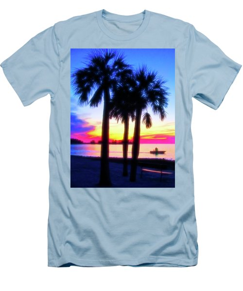 Men's T-Shirt (Athletic Fit) featuring the photograph Celestial Skies Beach Sunset by Aimee L Maher Photography and Art Visit ALMGallerydotcom