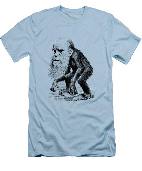 Charles Darwin As An Ape Cartoon Men's T-Shirt (Slim Fit) by War Is Hell Store