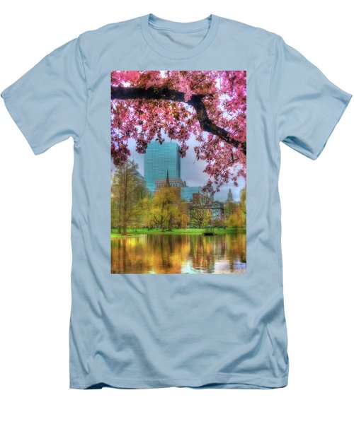 Men's T-Shirt (Slim Fit) featuring the photograph Cherry Blossoms Over Boston by Joann Vitali