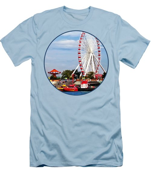 Chicago Il - Ferris Wheel At Navy Pier Men's T-Shirt (Slim Fit)