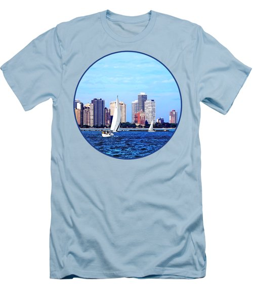 Chicago Il - Two Sailboats Against Chicago Skyline Men's T-Shirt (Slim Fit) by Susan Savad