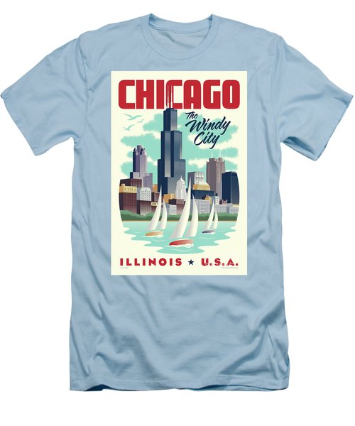 Chicago Retro Travel Poster Men's T-Shirt (Slim Fit) by Jim Zahniser