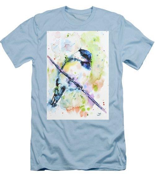 Men's T-Shirt (Slim Fit) featuring the painting Chick-a-dee-dee-dee by Zaira Dzhaubaeva