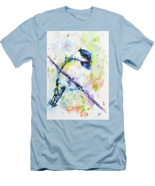 Men's T-Shirt (Athletic Fit) featuring the painting Chick-a-dee-dee-dee by Zaira Dzhaubaeva