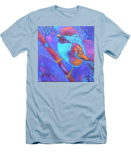 Men's T-Shirt (Slim Fit) featuring the painting Chickadee by Nancy Jolley