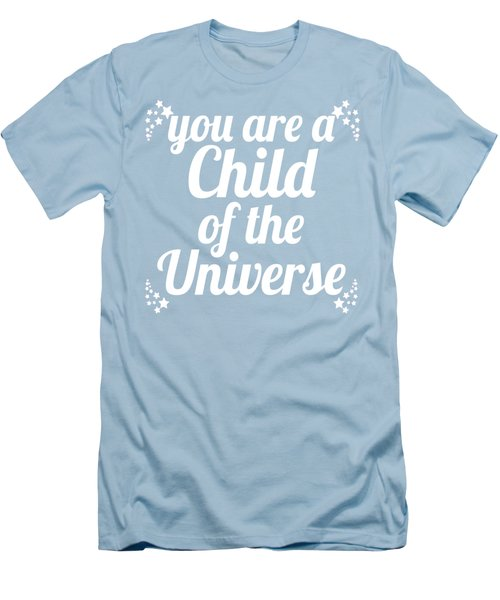 Men's T-Shirt (Slim Fit) featuring the digital art Child Of The Universe Desiderata - Blue by Ginny Gaura