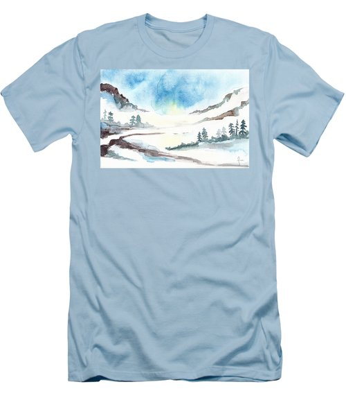 Children's Book Illustration Of Mountains Men's T-Shirt (Athletic Fit)