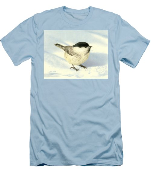 Chilly Chickadee Men's T-Shirt (Slim Fit) by Sarah Batalka