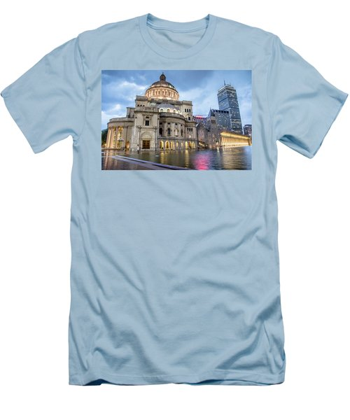 Men's T-Shirt (Slim Fit) featuring the photograph Christian Science Center In Boston by Peter Ciro