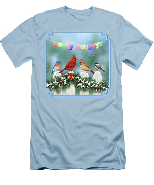 Christmas Birds And Garland Men's T-Shirt (Slim Fit) by Crista Forest