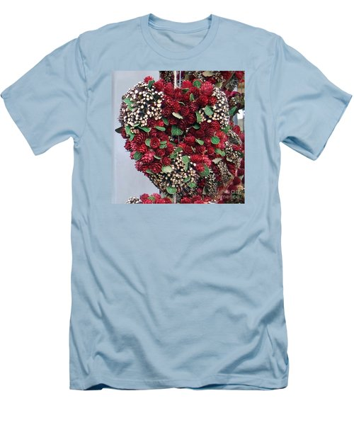 Christmas Heart Men's T-Shirt (Slim Fit) by Linda Prewer