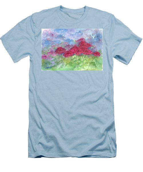 Men's T-Shirt (Slim Fit) featuring the painting Chrysanthemums by Cathie Richardson