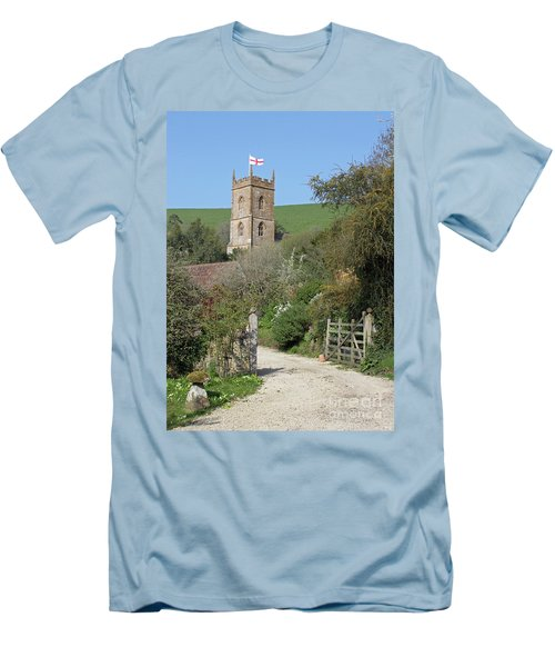 Men's T-Shirt (Slim Fit) featuring the photograph Church And The Flag by Linda Prewer