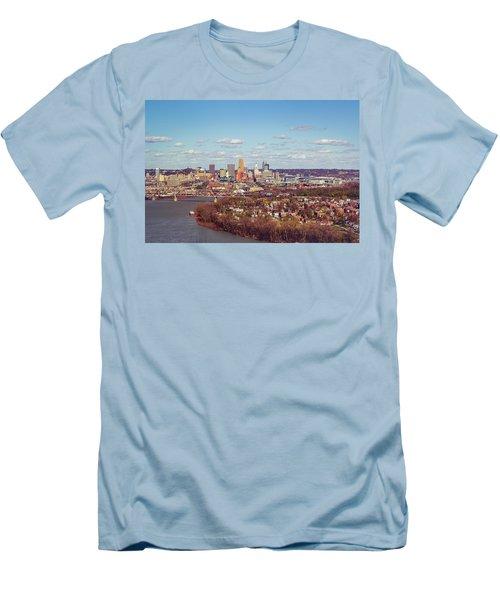 Cincinnati Skyline 2 Men's T-Shirt (Slim Fit) by Scott Meyer