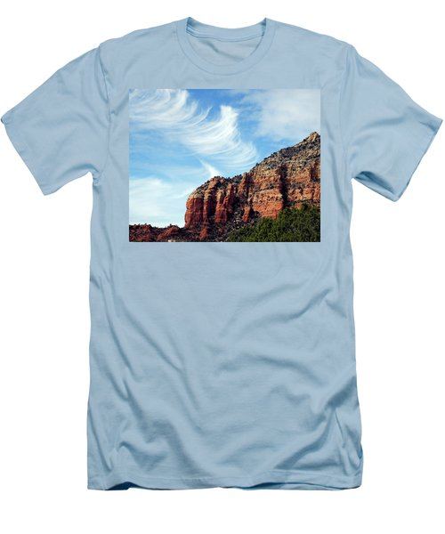 Men's T-Shirt (Slim Fit) featuring the photograph Cirrus Clouds Over The Mesa by Lynda Lehmann