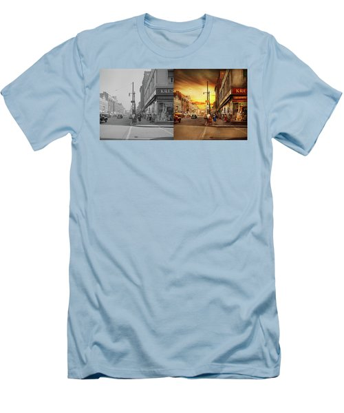 Men's T-Shirt (Athletic Fit) featuring the photograph City - Amsterdam Ny - The Lost City 1941 - Side By Side by Mike Savad