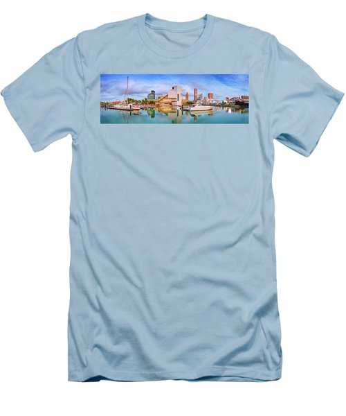 Men's T-Shirt (Slim Fit) featuring the photograph Cleveland  Pano 1  by Emmanuel Panagiotakis