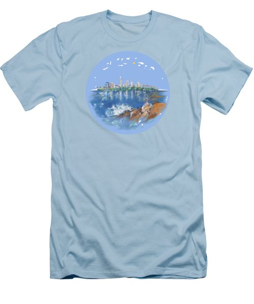 Men's T-Shirt (Slim Fit) featuring the digital art Cleveland Skyline Plate by Mary Armstrong
