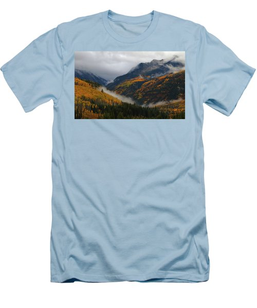 Men's T-Shirt (Slim Fit) featuring the photograph Clouds And Fog Encompass Autumn At Mcclure Pass In Colorado by Jetson Nguyen