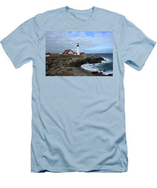 Clouds Over Portland Head Lighthouse Men's T-Shirt (Slim Fit) by Lou Ford