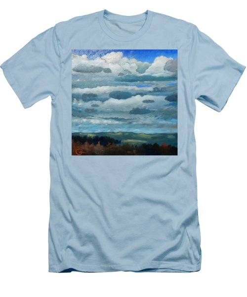 Men's T-Shirt (Slim Fit) featuring the painting Clouds Over South Bay by Gary Coleman